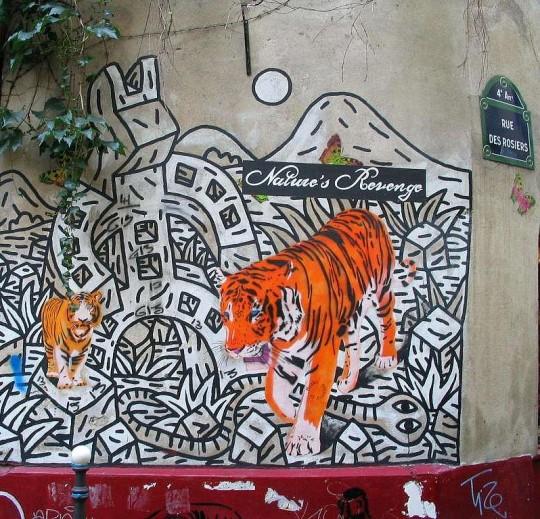 Photo lavieenrouge. graffiti Mosko & ass. Rue des Rosiers