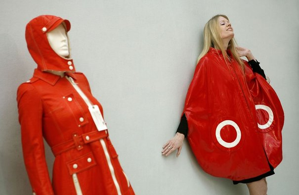 A model poses with Pierre Cardin's 'satellite cape' at Christie's auction house in London