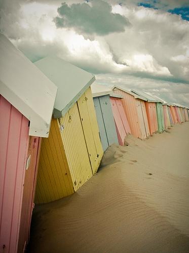 cabines de plage sur la plage