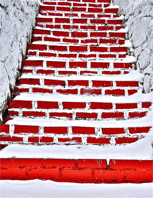 Red brick steps