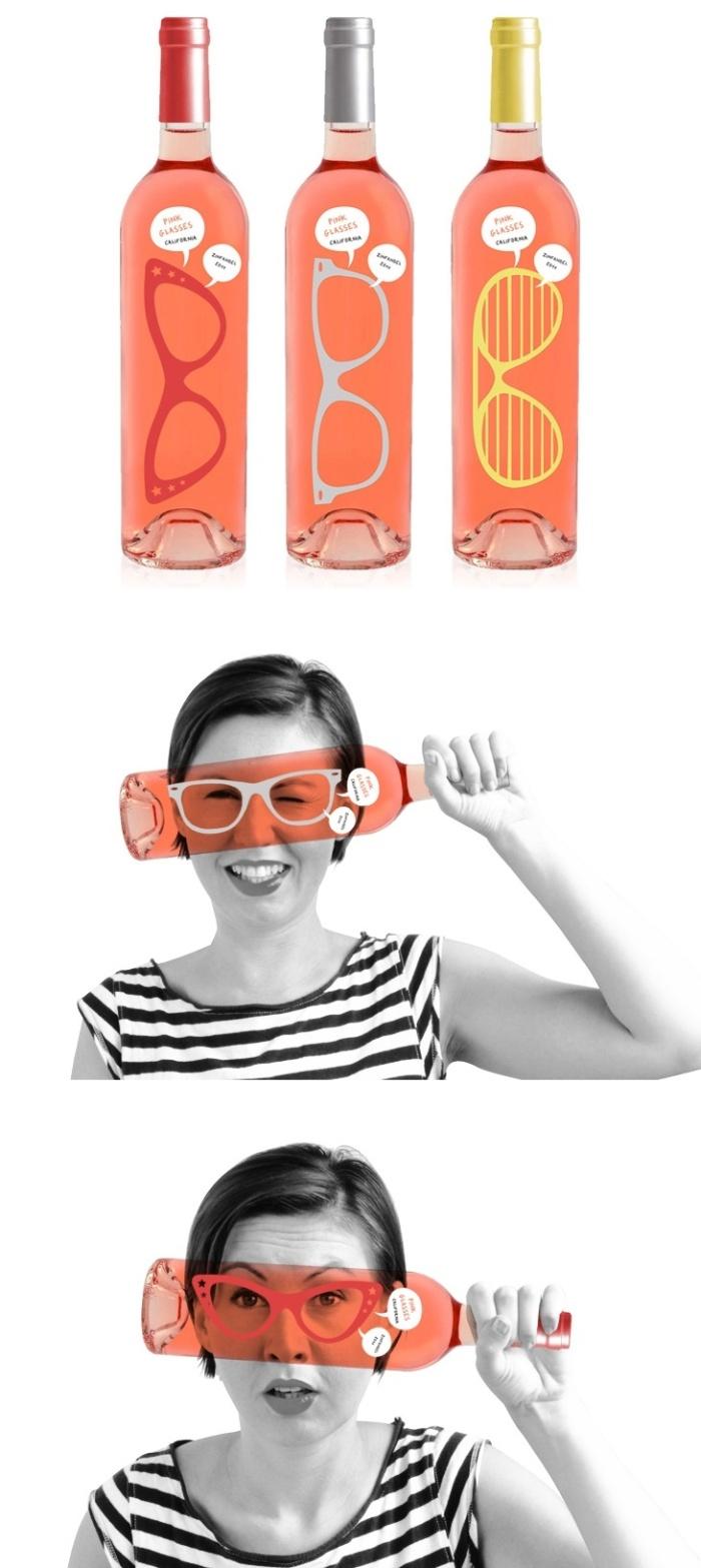 Pink Glasses wine package designed by Luksemburk