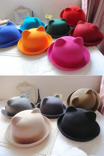 Cute Cat Ears Bowler Hat