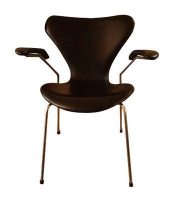 10 chaises série 7 en acier et cuir, Arne JACOBSEN, édition Fritz Hansen - 1981