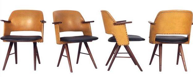 4 chaises FE30 en teck massif et simili cuir, Cees BRAAKMAN - 1950