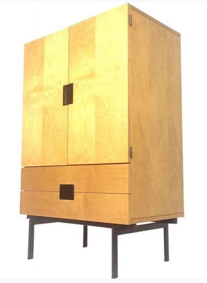 Armoire en bois de bouleau, teck et métal, Cees BRAAKMAN - 1950