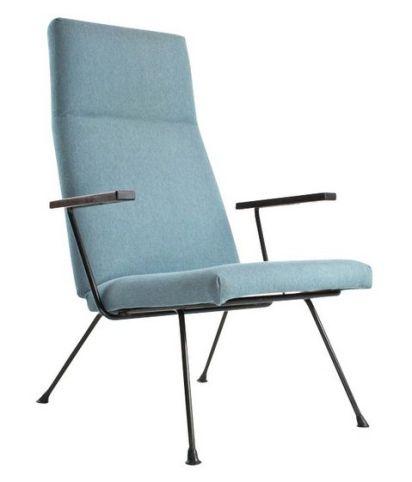 Fauteuil lounge 1410 en tissu bleu et métal, A.R. CORDEMEYER - 1950