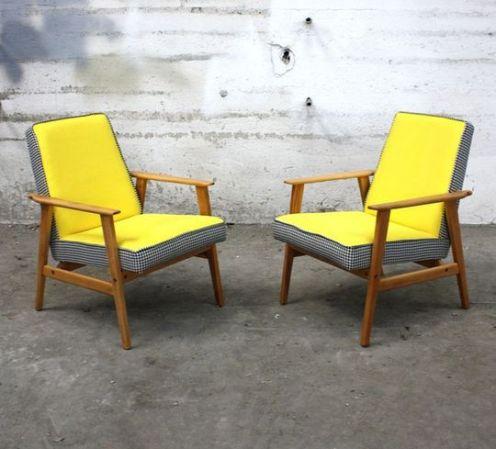Fauteuil vintage en bois et tissu jaune - 1960