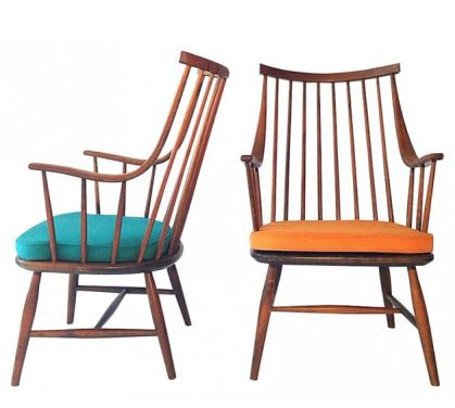Paire de fauteuils lounge en bois et tissu, Lena LARSSON - 1950