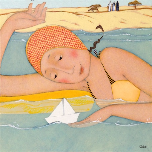 Bateau-sur-leau-A-la-piscine-Cecile Veilhan.