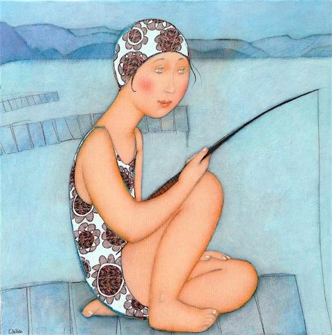 La-petite-pêche-60x60-cm Cecile Veilhan.